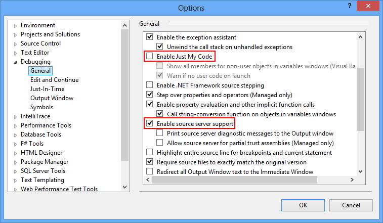 Visual Studio Debugging Configuration